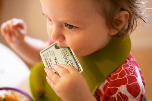 child with credit card