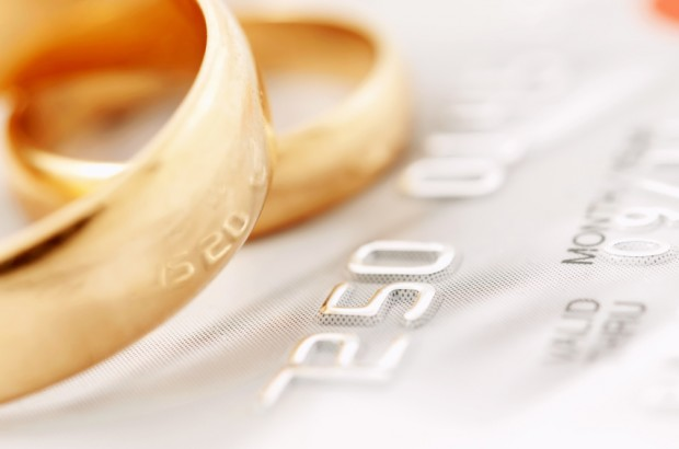 wedding rings and credit card