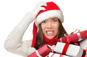 stressed woman holiday shopping