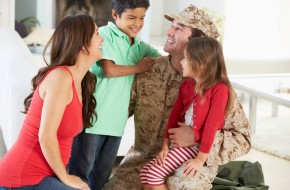 father home on leave from military