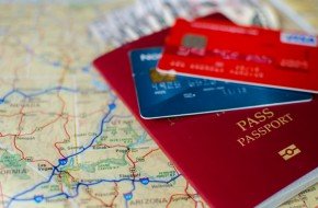 passport, map and credit cards
