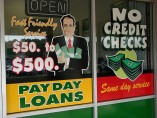 payday loan window sign